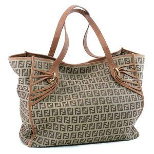 Auth Fendi Zucchino Canvas Tote Bag #1438F18